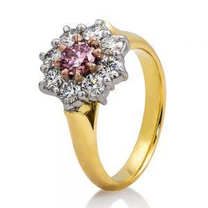Pink & white diamond cluster