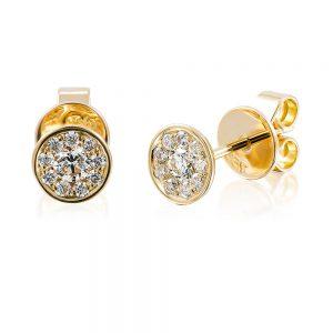 Bezel Set Cluster Diamond Stud Earrings in 18k Yellow Gold