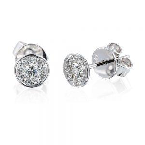 Bezel Set Cluster Diamond Stud Earrings in 18k White Gold