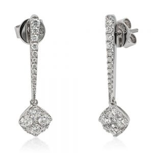 18k white gold diamond long drop rod earring with cluster