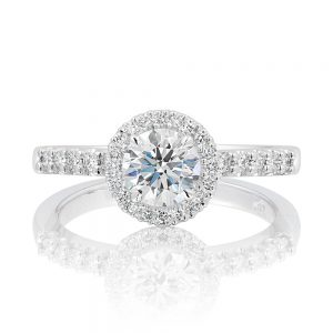 The style allows for a wedding ring designs and a Solitaire diamond push eternity band to sit flush beside.