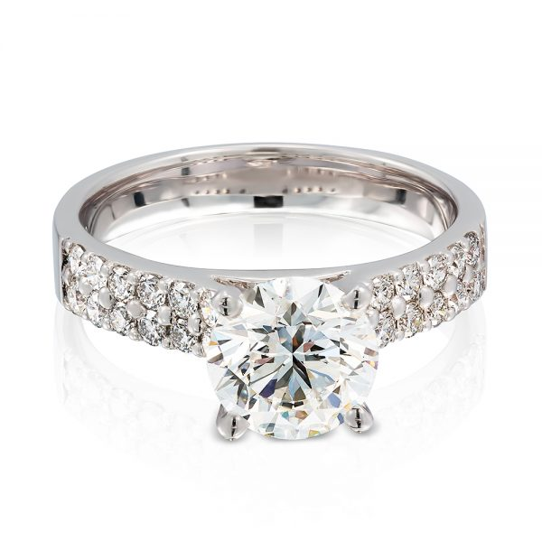 Solitaire 4 Claw Set with Double Row Diamond Set in 18k White Gold Band top.