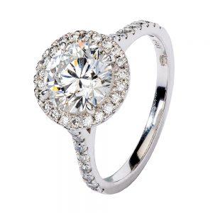 White gold round 2 ct diamond with halo