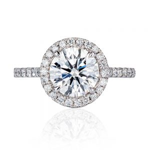 18k white gold round 2ct diamond with fine grain set halo ring