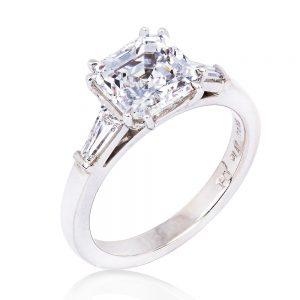 Asscher cut 3 carat diamond with tapered baguettes