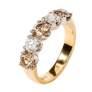 White and champagne diamond ring