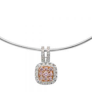 White and Pink Diamond Pendant of Nine Pink Diamonds