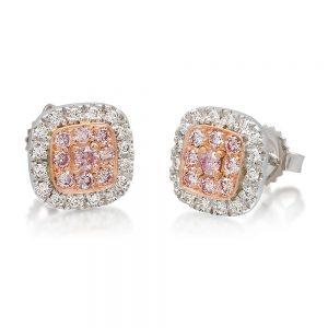 Holloway Diamonds Cushion Shaped White and Pink Diamond Stud Earrings 050578