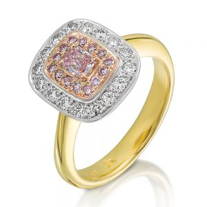 Cushion Cut Pink Diamond Cluster Ring with white diamond Halo