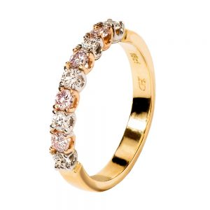 Eternity Style Pink and White 7 Across Diamond Ring 18ct yellow gold