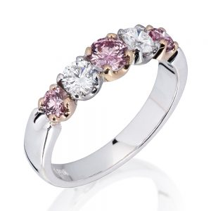 ternity Style 5 Across Pink and White Diamond Ring in 18K white gold