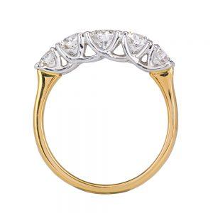 Claw sweep 5 across diamond yellow gold ring profile