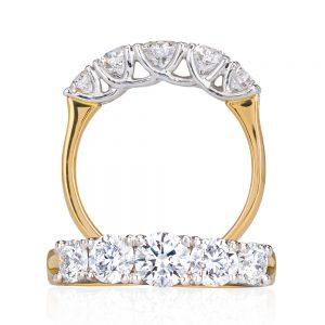 Eternity Style 5 Across White Diamond Ring Platinum Set with 18k Yellow Gold Band