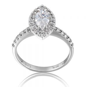 Marquise Diamond Ring with Cluster of Diamonds on a Diamond Band