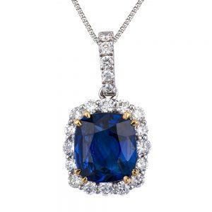 Cushion Cut Sapphire & Diamond Halo Pendant