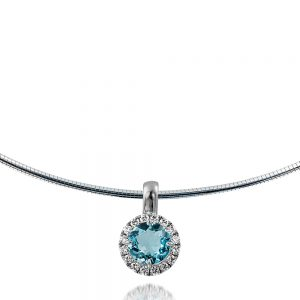 Round Aquamarine and Diamond Cluster Pendant