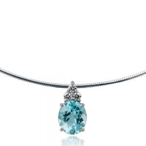 Oval Aquamarine Pendant Balanced by Three Round White Diamonds