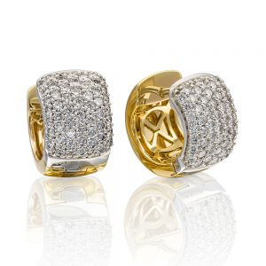 Pave Huggie Diamond Earrings set in 18k Yellow and White Gold