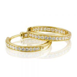 Grain Set Diamond Hoop Earrings in 18k Yellow Gold