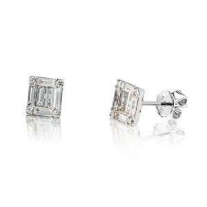 Modern Baguette and Round Diamond Stud Earrings