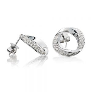 Holloway Diamonds 18k White Gold Contemporary Oval Double Row Diamond Stud Earrings 111104