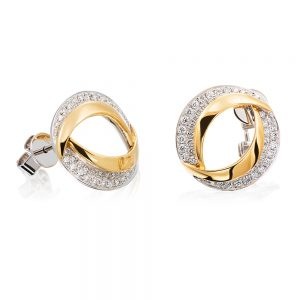 Holloway Diamonds 18k White & Yellow Gold Contemporary Oval Double Row Diamond Stud Earrings 111105