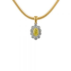 Flower Style Yellow Oval Cut Diamond Pendant with a Scalloped White Diamond Cluster
