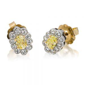 Flower Style Fancy Yellow Oval Cut Diamond Earrings