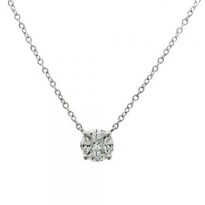 18k White Gold 5 Stone Princess and Marquise Cut Diamond Cluster Pendant