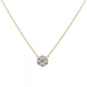 18k Yellow Gold Flower Style Cluster Diamond Pendant