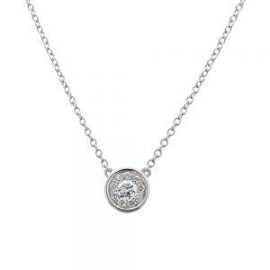 18k White Gold Round Bezel Set Diamond Cluster Pendant of Ten Diamonds