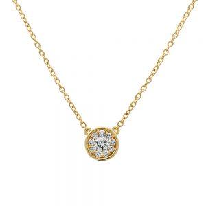 18k Yellow Gold Round Bezel Set Diamond Cluster Pendant of Ten Diamonds