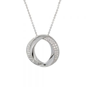 18k White Gold Contemporary Oval Pendant with a Double Row of Diamonds