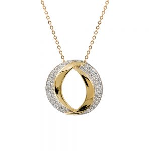 18k Yellow and White Gold Contemporary Oval Pendant with a Double Row of Diamonds