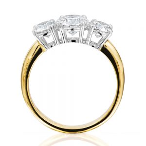 Brilliant cut 3 across diamond with tapered band