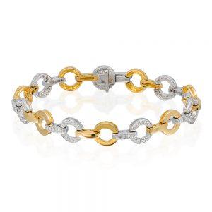 8 karat yellow and white gold circle style bracelet with 105 diamonds