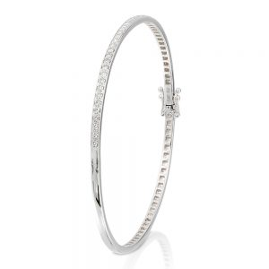 white gold bangle with milgrain set diamonds