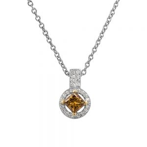 Circular Pendant of White Diamonds with One Princess Cut Champagne Diamond