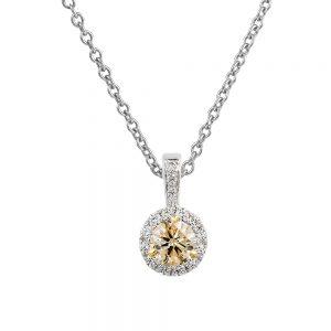 Champagne Diamond Cluster Pendant with White Diamonds Set into the Bale
