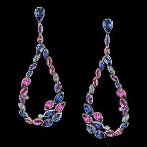 Robert Procop Platinum and 18K Rose Gold Sapphire and Diamond Drop Earrings