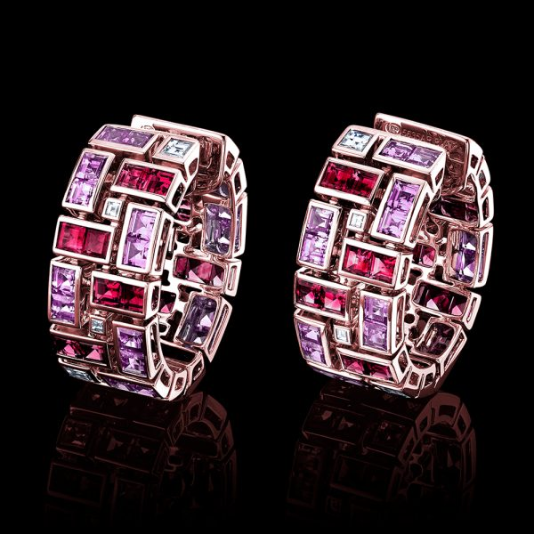 Robert Procop 18k Rose Gold Ruby and Pink Sapphire Masterpiece Clutch Earrings