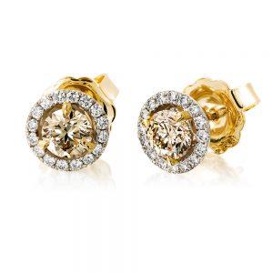 Champagne Diamond Cluster Stud Earrings