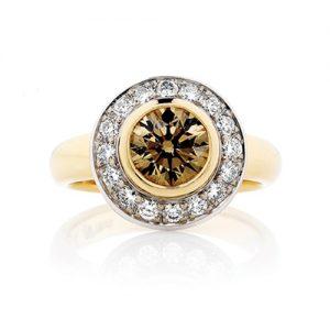 Round Champagne diamond and Halo of white diamond Ring