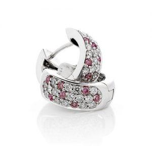 Pink and white diamond huggie earrings