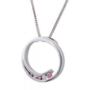 Round angle Pink and White Diamond Pendant
