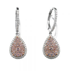 18K White Gold Drop Style Earrings with Pink and White Diamonds