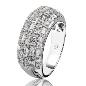 Holloway Diamond Domed Baguette and Round Diamond Ring hero 061109
