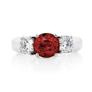 Claw Set Ruby and Diamond Ring