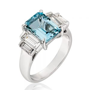 March Birthstone Aquamarine Baguette Diamond Ring