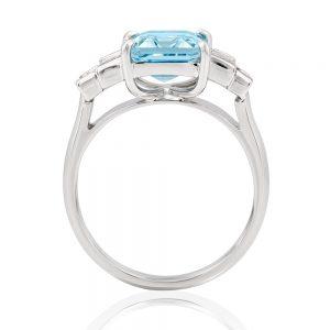 3ct fine rich blue Aquamarine ring with graduating baguettes 4=+1ct